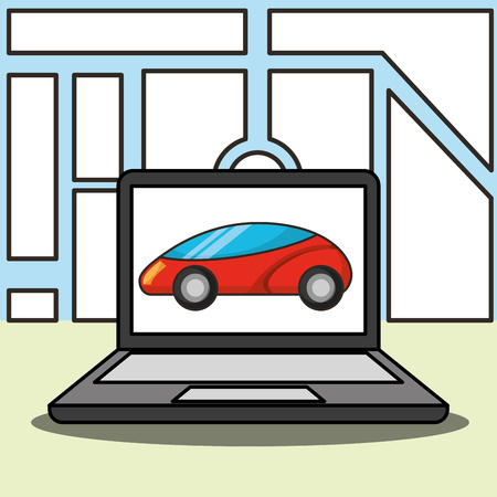 autonomous car computer screen ubication vector illustration