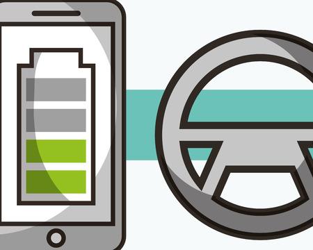 autonomous car steering wheel smartphone screen battery vector illustration