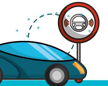 autonomous car post steering wheel signal vector illustration Çizim