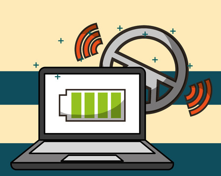 autonomous car computer screen battery signal steering wheel vector illustration Illustration