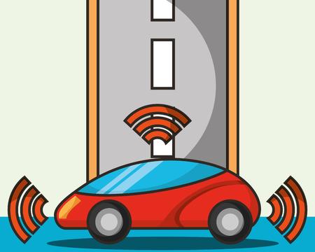 autonomous car street driving signal vector illustration Illustration