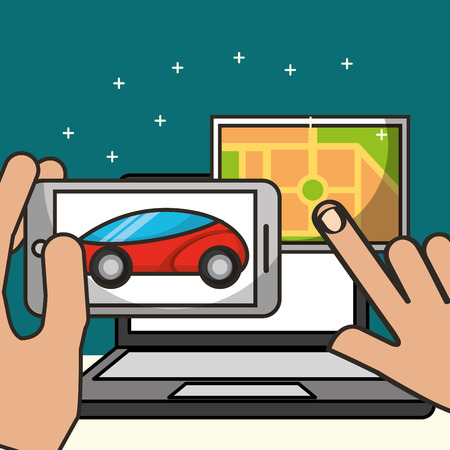 autonomous car hands holding and touching screen ubication computer vector illustration