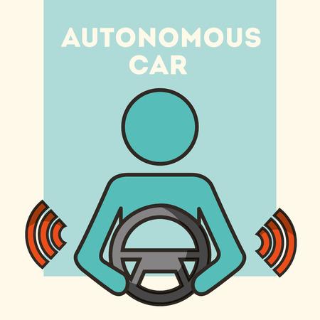 autonomous car man olding steering wheel signal vector illustration