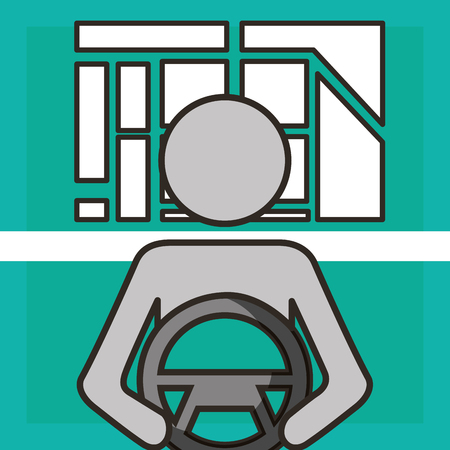 autonomous car male holding steering wheel vector illustration Illustration