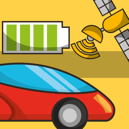 autonomous car signal satelite battery vector illustration