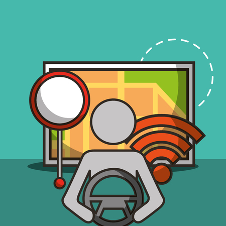 autonomous car male holding steering wheel wifi map location vector illustration Illustration