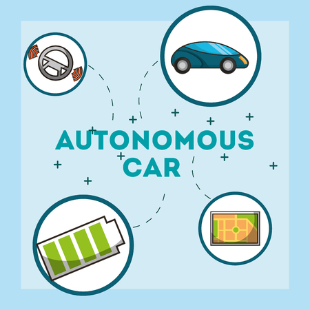 autonomous car stickers battery screen ubication vector illustration