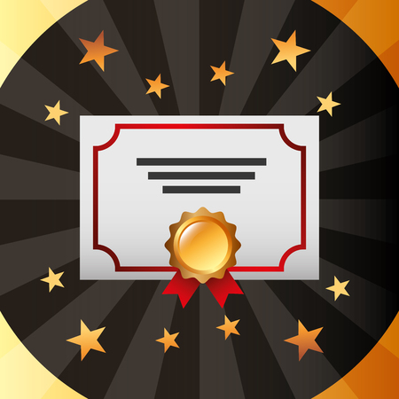 movie awards diploma recognition badge win stars background vector illustration