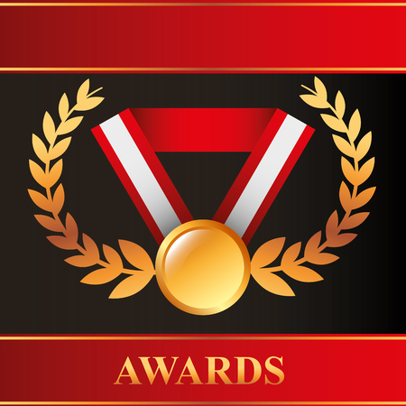 movie awards recognition badge necklace vector illustration