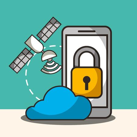 satelite signal cloud smartphone padlock security vector illustration Illustration