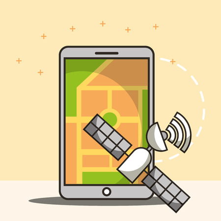 smartphone ubication satelite signal saver vector illustration