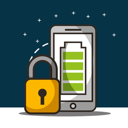 smartphone screen baterry padlock save security vector illustration Illustration