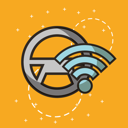autonomous car steering wheel wifi signal vector illustration Illustration