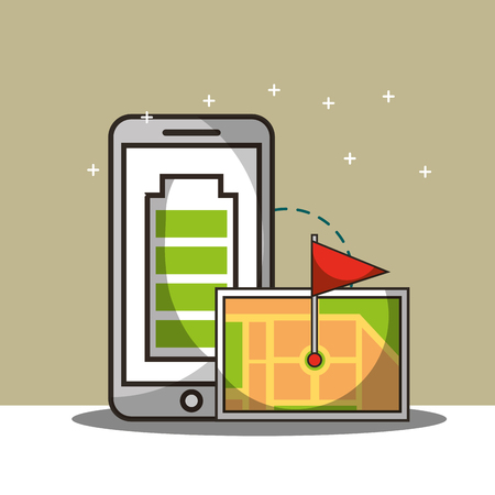 smartphone battery connection tablet screen ubication flag vector illustration Illustration