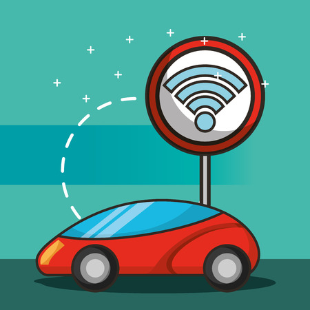 autonomous car post signal connection vector illustration