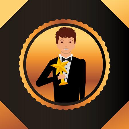 movie awards frame figure circle man smiling holding star prize winner vector illustration Illustration