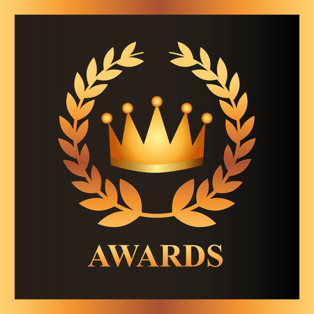 movie awards crown prize sign vector illustration