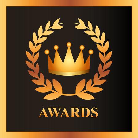movie awards crown prize sign vector illustration