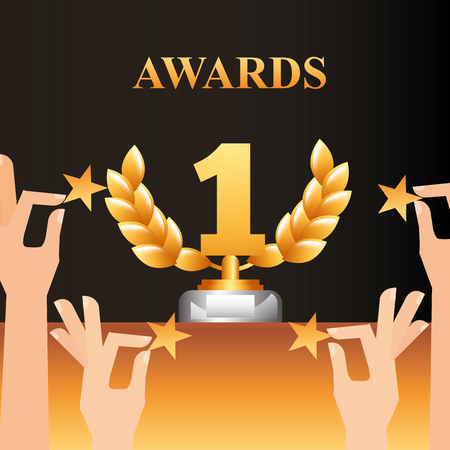 movie awards hands holding stars number one prize winner vector illustration