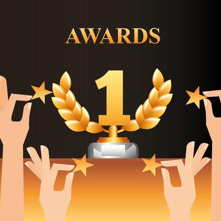 movie awards hands holding stars number one prize winner vector illustration Reklamní fotografie - 111614519