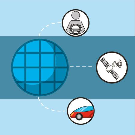 autonomous car stickers satelite signal man holding steering wheel vector illustration
