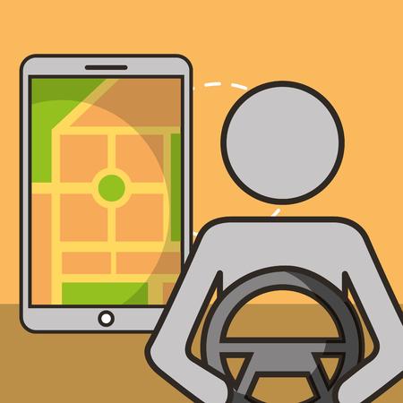 autonomous car smartphone location male driving vector illustration Иллюстрация