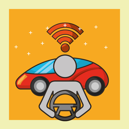 autonomous car signal male steering wheel motorcar vector illustration