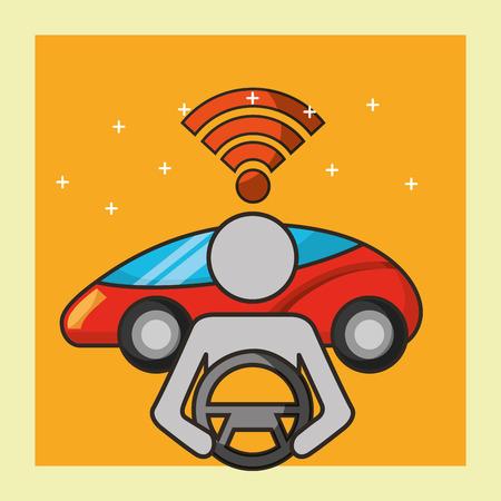 autonomous car signal male steering wheel motorcar vector illustration