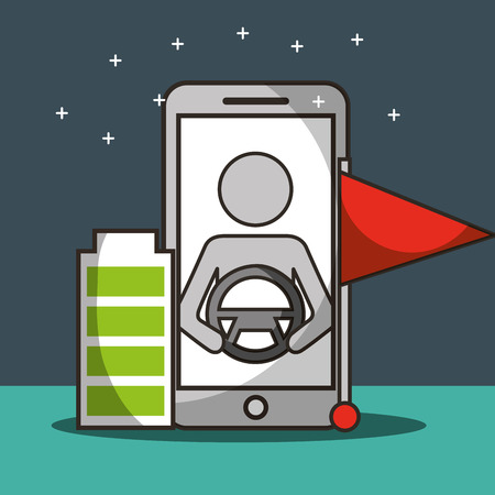 autonomous car smartphone screen male steering wheel battery flag vector illustration