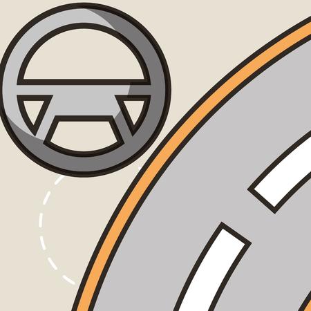 autonomous car steering wheel street vector illustration Ilustração