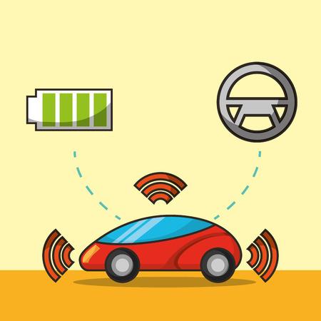 autonomous car signal battery steering wheel vector illustration