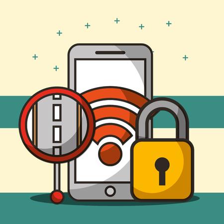 smartphone screen signal wifi padlock post street vector illustration