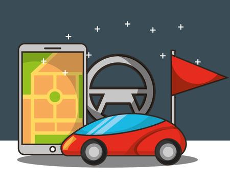 autonomous car smartphone screen location steering wheel flag vector illustration
