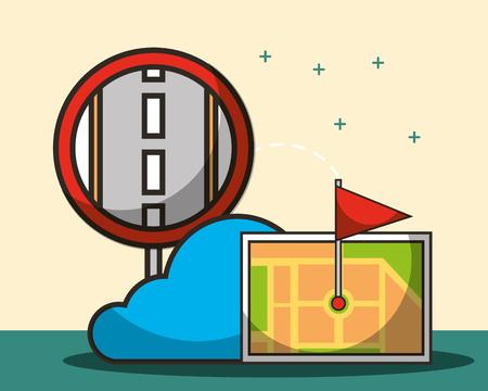 post street cloud screen ubication flag vector illustration