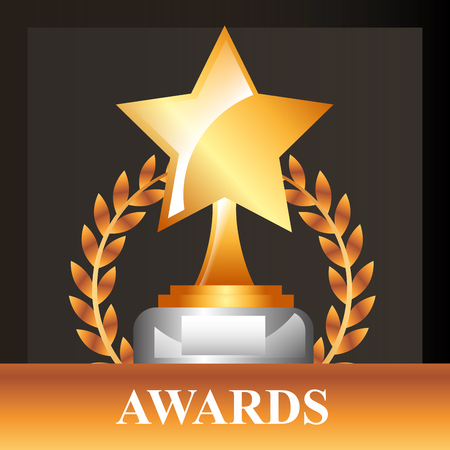 movie awards winner star prize vector illustration