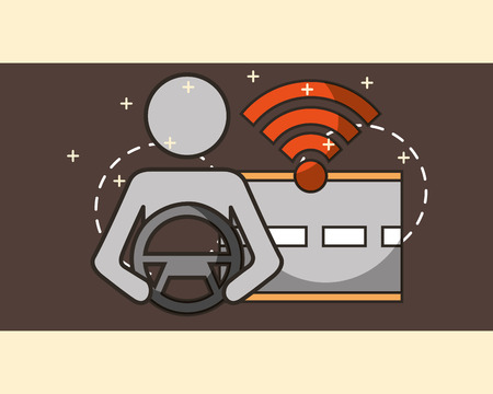 autonomous car male holding steering wheel screen signal street vector illustration Illusztráció