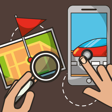 hands touching screen smartphone street driving ubication flag vector illustration