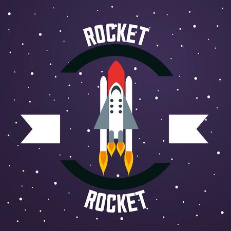 space solar system ribbon sign rocket stars vector illustration