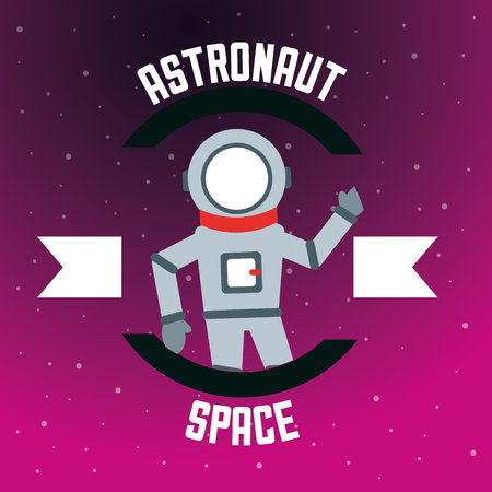 space solar system astronaut greeting ribbon sign vector illustration