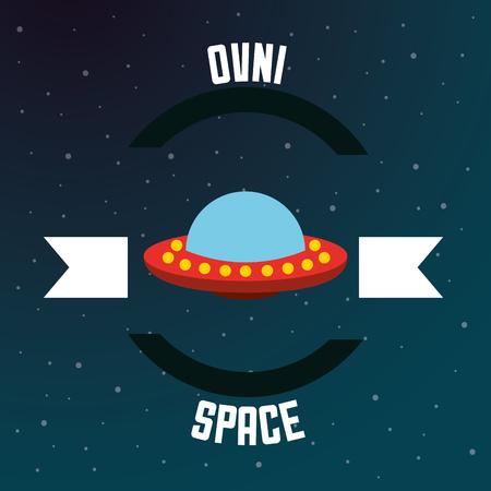 space solar system ovni ufo ribbon stars vector illustration