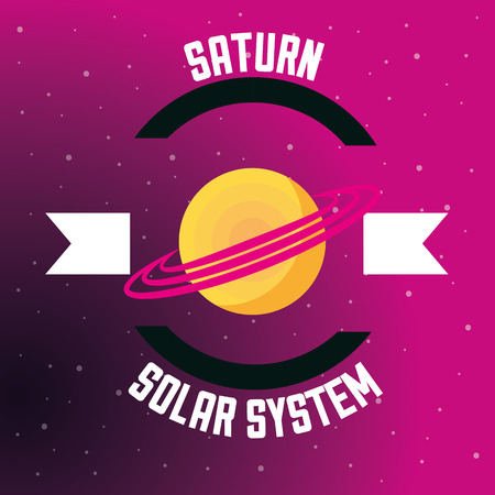 space solar system saturn planet vector illustration