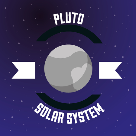 space solar system pluto ribbon sign stars vector illustration Illustration