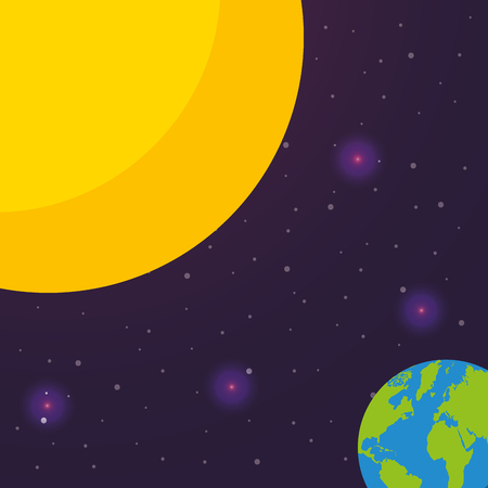 space solar system earth sun flickering lights stars vector illustration