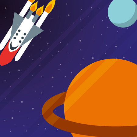 space solar system saturn planet rocket exploration vector illustration