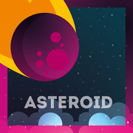 space solar system asteroid stars clouds frame vector illustration