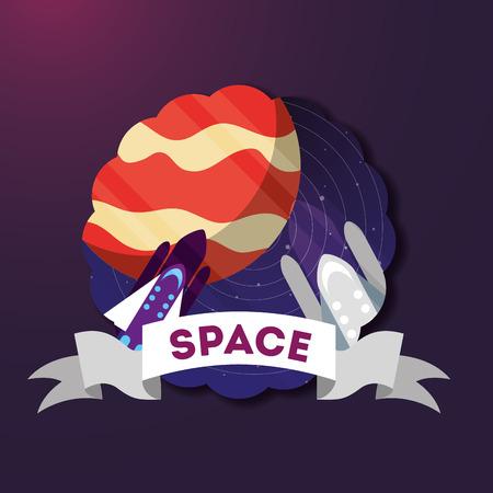 space solar system sticker rockets planet ribbon vector illustration
