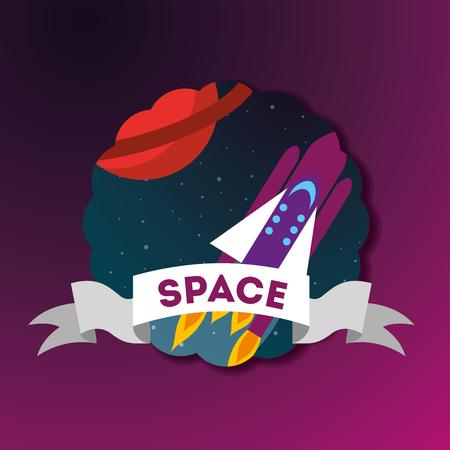 space solar system sticker ribbon sign rocket planet vector illustration