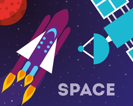 space solar system satelite signal planet rocket exploration vector illustraiton
