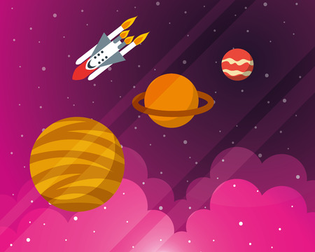 space solar system planets rocket exploration clouds stars vector illustration