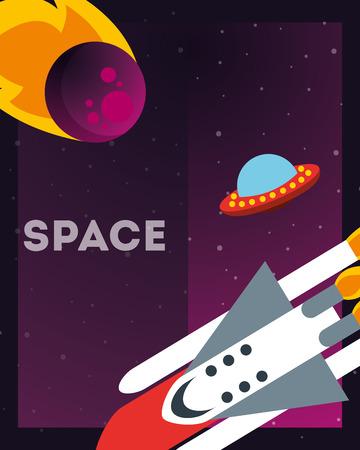 space solar system asteroid ufo rocket exploration vector illustration